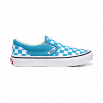 vans classic checkerboard slip-on caribbean sea/ true white